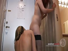 Kissing French Canadian licks Russian pussy in hotel