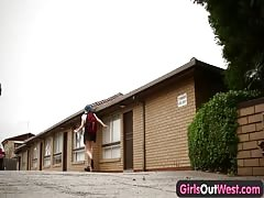 Girls Out West - Hairy lesbian students squirting n strapon