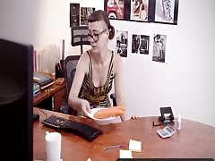Girls Out West - Hairy amateur girl squirts in the office