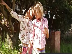 chicks Out West - thin blonde lesbians in the backyard