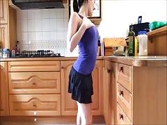 Oily Fingering Cum Show on Kitchen Floor