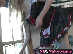 Girls Out West - Australian blonde toys her hairy beaver