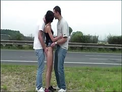 Petite young teen girl with small tits PUBLIC gangbang