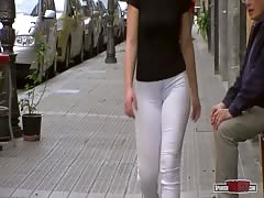 Flashing her cameltoe right before everyone's eyes around the city