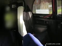 Huge tits blonde flashing and fucking in taxi