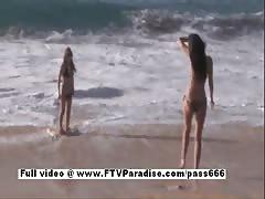 Faye and Larysa hysterical lesbians flashing on the beach