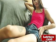 Petite tattooed ladyboy wanking her penis