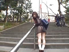 Mikan good looking real asian student flashes her part2