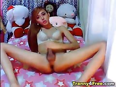 nice chinese transsexual unwraps  and drains