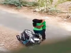Indian lover hot kiss in road