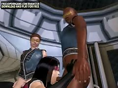 3D toon interracial gang bang in a space ship