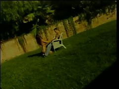 Horny slut getting her cunt fucked in the yard