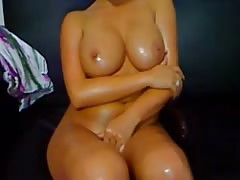 Oiled body rub with nice tits