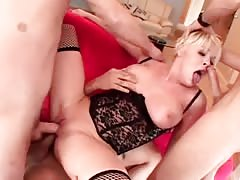 Busty blonde gets drilled in all holes by her step dad's amigos