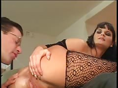 Big tit babe in bodystocking loves hard anal