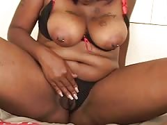 Cute black girl with thick ass and big clit gets a pov doggy style fuck
