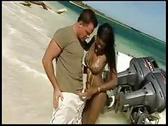 Nude Beach - hot black  assfuck with brilliant CIM Facial