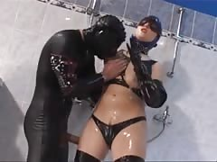 Latex-Fetish-Slut with Huge-Boobs plowed in Shower