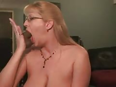 Hot milf deepthroating her dildo