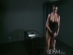 BDSM XXX Silent hooded slave boy receives brutal treatment