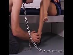 mistress use a feet slave in jail