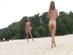 nudist beach brings the best out of two super hot teenagers
