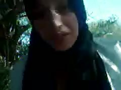 Hijabi fuckslut deepthroating Her BFs man-meat outside