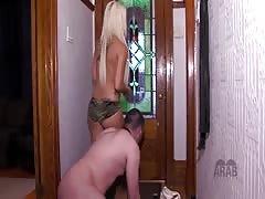 Mistress disciplined  her Arab slave for sniffing her footwear