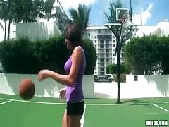 Impressive sporty girl is jumping on a dick after playing basketball