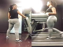 Extremely Sexy Latina Wobbles Her Jiggly Booty On Treadmill!