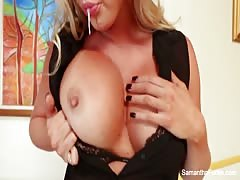Schoolgirl Samantha Saint pleasures herself