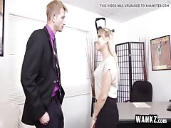WANKZ - Cute Blonde Secretary Fucks Her Boss!