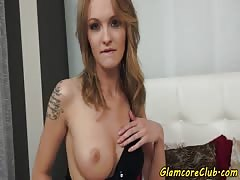 Euro babe fingers her wet pussy