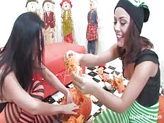 Pumpkins and lesbian sex with Jayden and Kristina