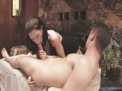 Brunette masseuse gets her beaver screwed