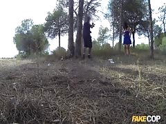 Dark-haired mom Montse takes a jizz-shotgun in the forest!