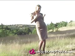 Good outdoor undressing session with a hot Only Secretaries blonde
