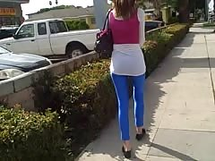 Sensual amateur girl spotted in the tight blue Spandex