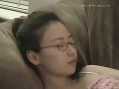 Skinny Sharing Paris Asian is sucking a huge hard boner
