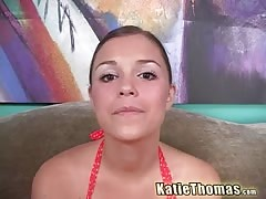 Flexible white bitch Katie Thomas shows off her tits