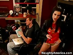 Black-haired naughty babe impressed and fucked by a big cock