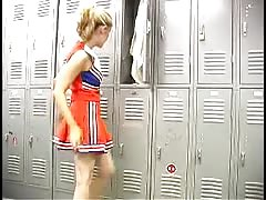 Innocent Babes Cartel cheerleader is getting topless in the locker room