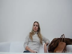 Slutty Chezh blonde milf is getting on the casting for a first time