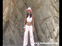 Elegant beauty Karla Spice is posing in her lovely bikinis