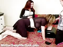 Alluring Step Daughter and mom are screwing with a sex toy