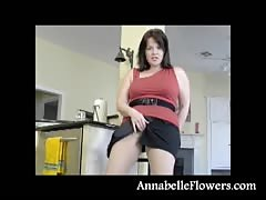 lovely huge-boobed  brunette Annabelle Flowers is opening up  her gams