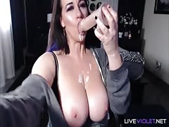Encouraging phat MILF with huge boobs and white booty