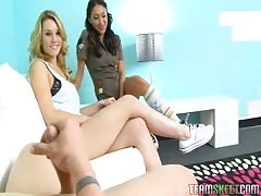 Hot This Girl Sucks bitches Vicki and Sierra are giving a double blowjob