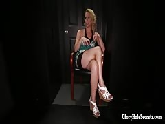 Sexy horny blonde cant get enough cock in gloryhole
