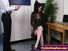huge-boobed  office brit deep-throating man-meat until facial